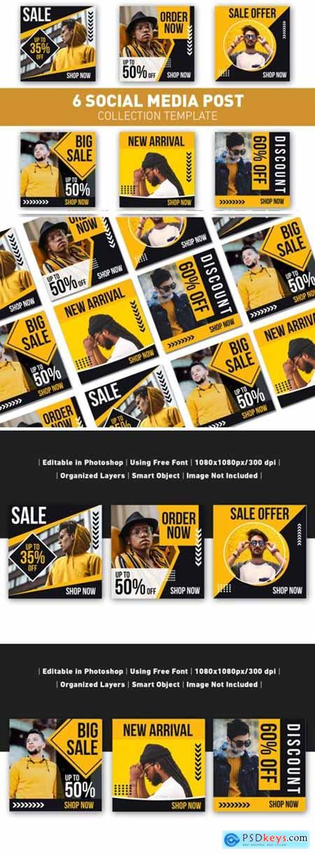 Social Media Post Sale Yellow Template 3624075