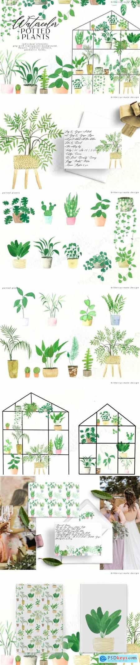 Watercolor Cozy Potted Plants 3623556