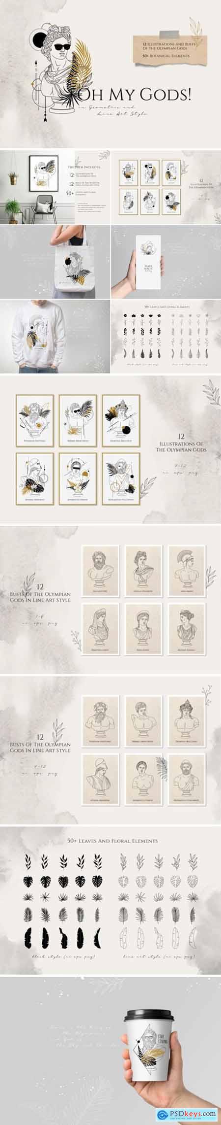 Oh My Gods! Olympian Gods in Line Art 3633440