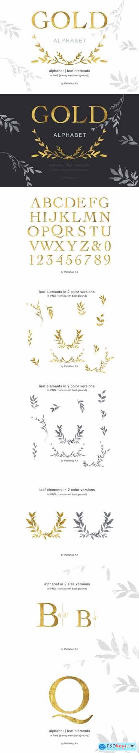 Gold Alphabet & Leaf Clip Art Collection 3623138