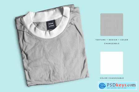 Folded Round Neck Tshirt Mockup 4457001