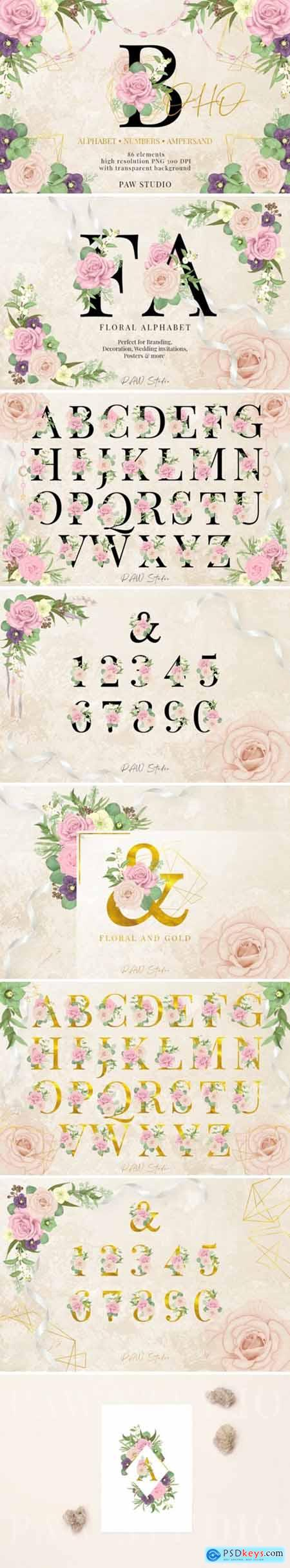 Floral Gold Letters Numbers Ampersand 3586427