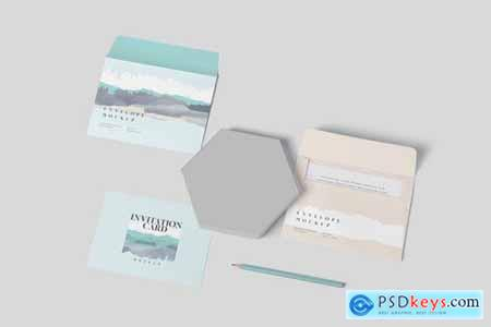 Round Corner Invitation Card & Envelope Mockups