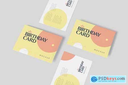 Single Page A6 Size Rectangle Birthday Card Mockup