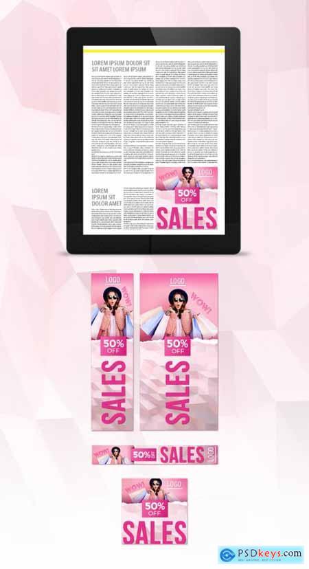 Pink Color Sales Web Banner Set Layouts 331292280