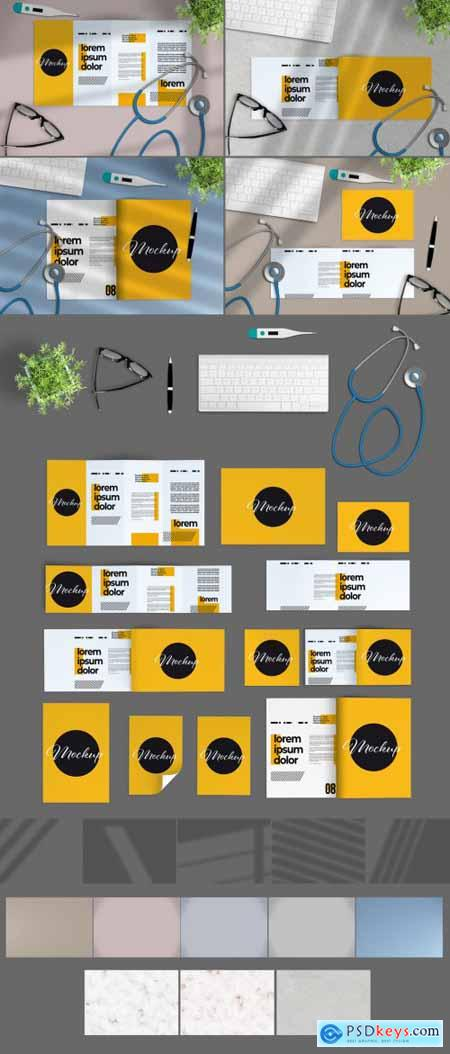 Stationery with Desk Accessories and Medical Equipment Scene Creator Mockup 331299035