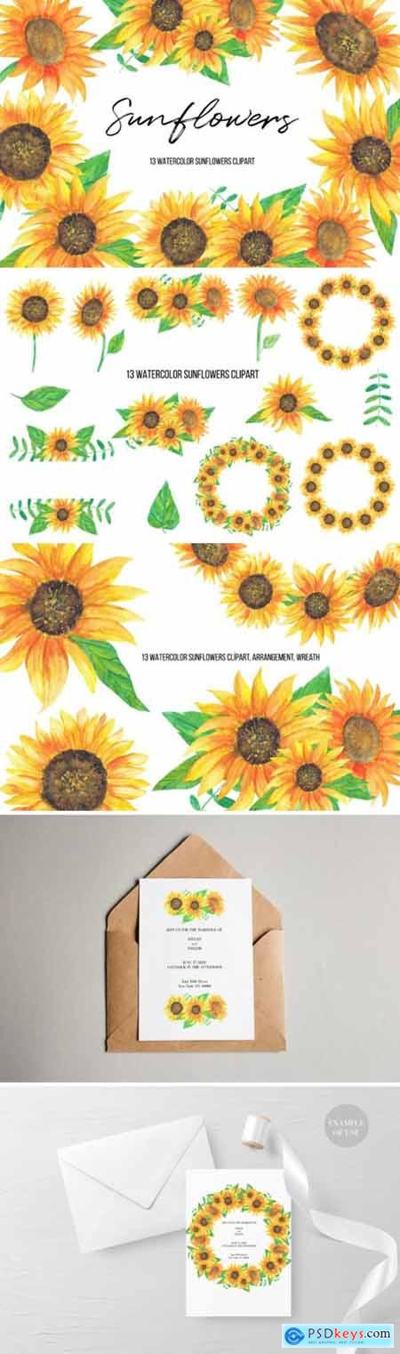 Watercolor Sunflowers Clipart 3671049