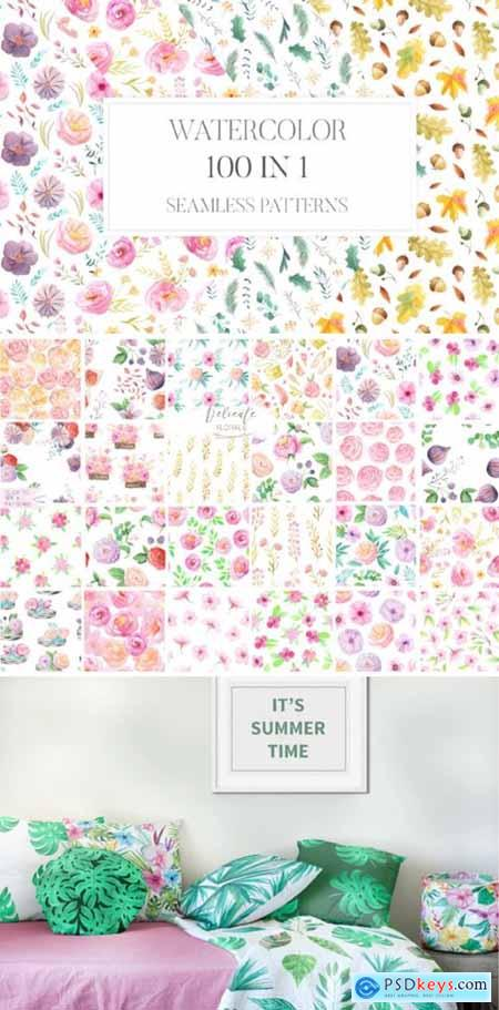 100 in 1 Watercolor Patterns Set 3669661