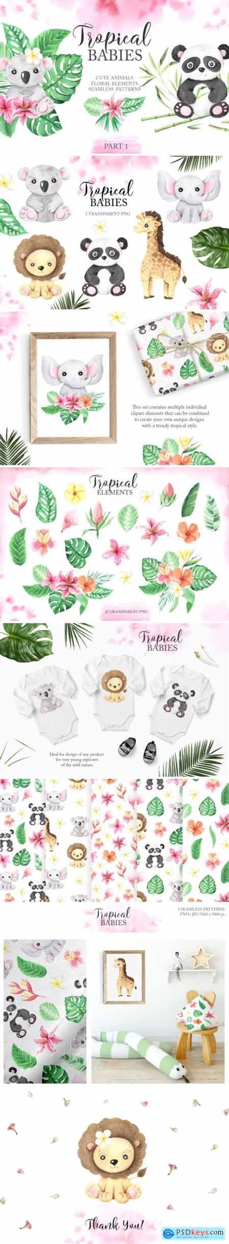 Watercolor Tropical Babies Set 1 3673167