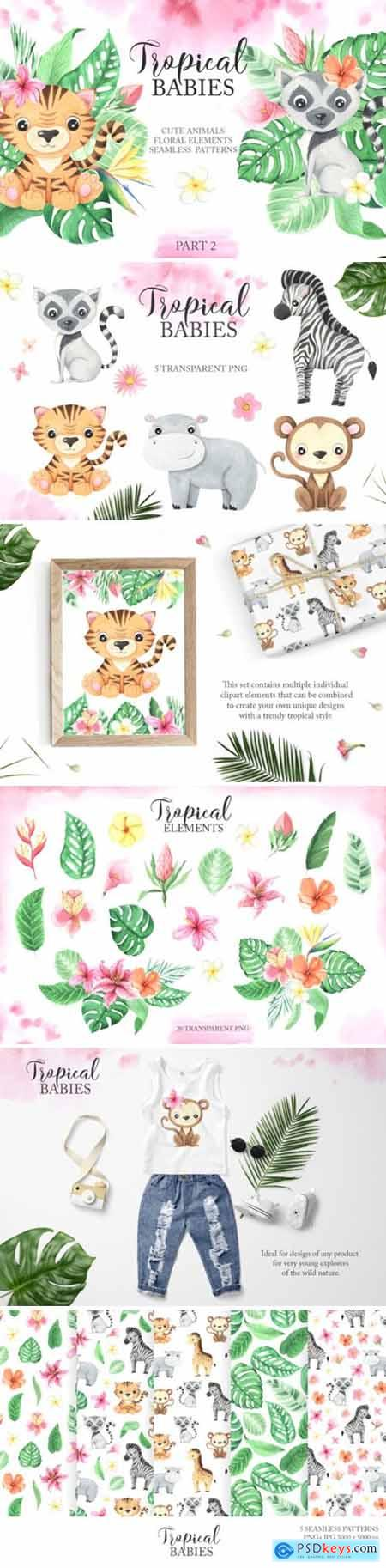 Watercolor Tropical Babies Set 2 3673153