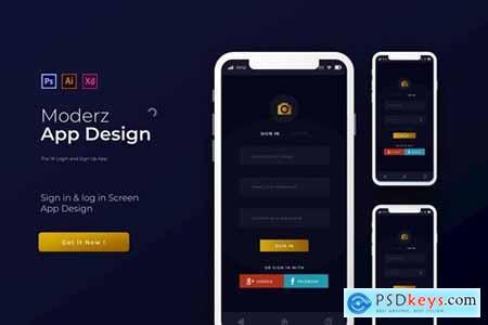 Moderz Login & Sign Up - App Design Template