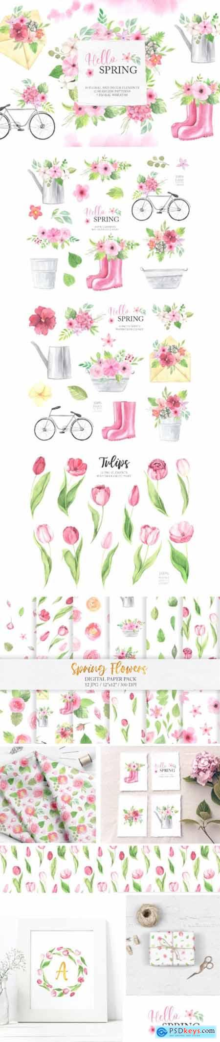 Watercolor Spring Floral Collection 3676809