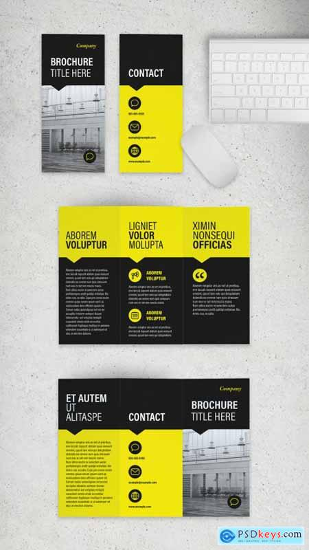 Yellow and Black Trifold Brochure Layout 331508570