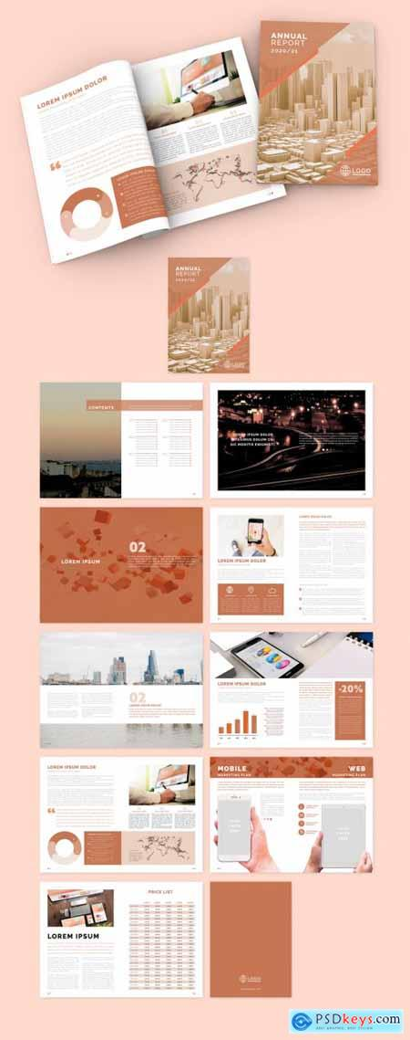 Peach Color Annual Report Brochure Layout 331506021