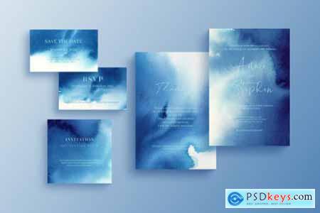 Glittering invitation template, wedding stationery set