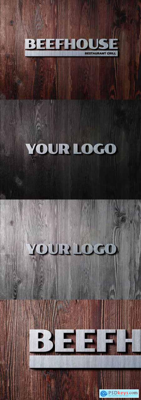 Metal Sign on Rustic Wood Background Effect 331499632