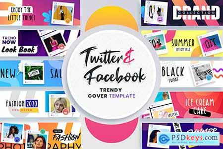 Facebook & Twitter Cover Templates x2