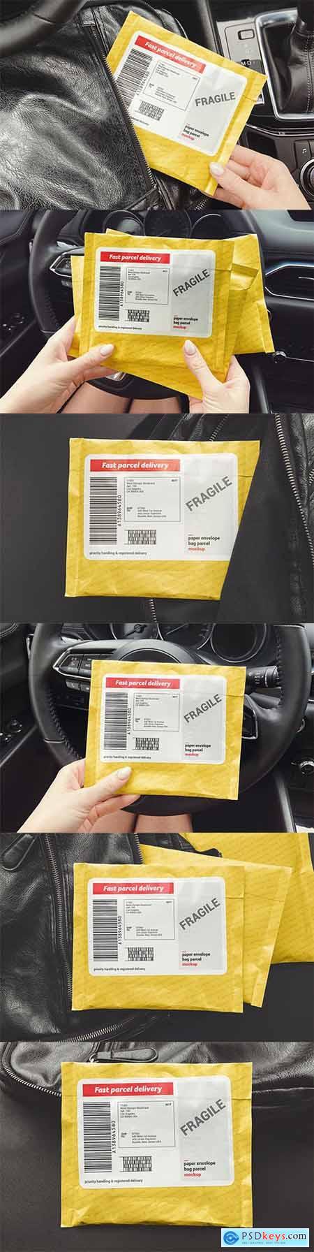 Paper Envelope Bag Parcel Mockup