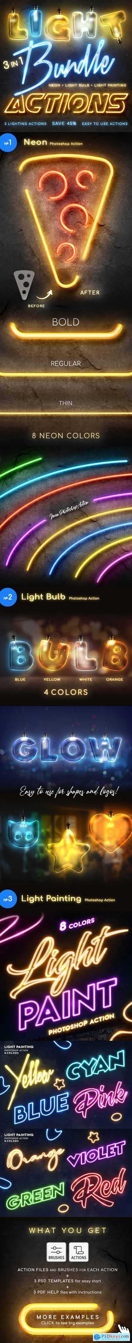 Lighting Photoshop Actions Bundle 25882789