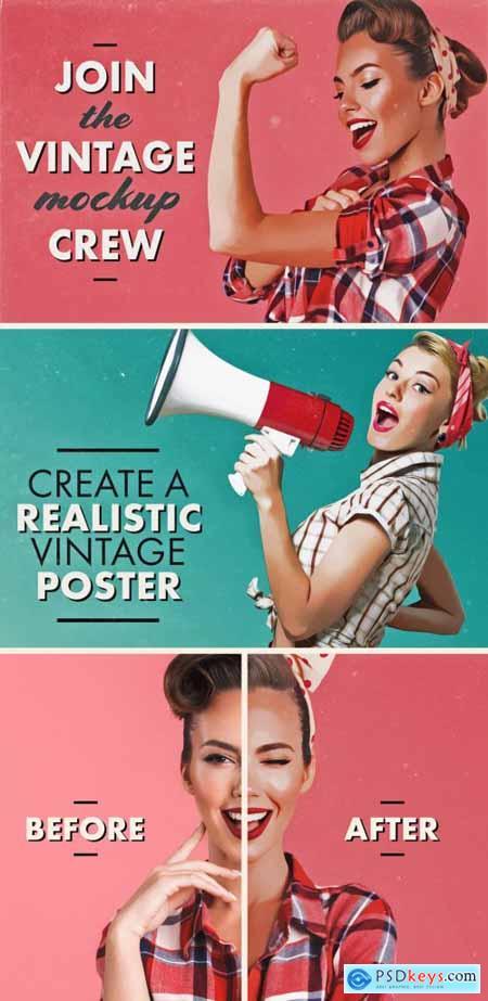 Vintage Poster Photo Effect Mockup 332948175