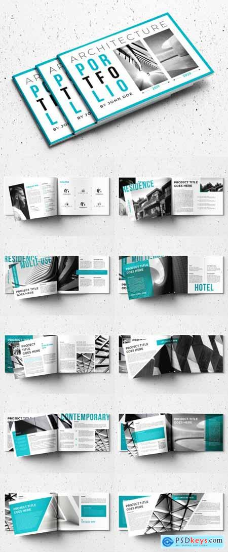 Portfolio Layout with Teal Accents 332978256