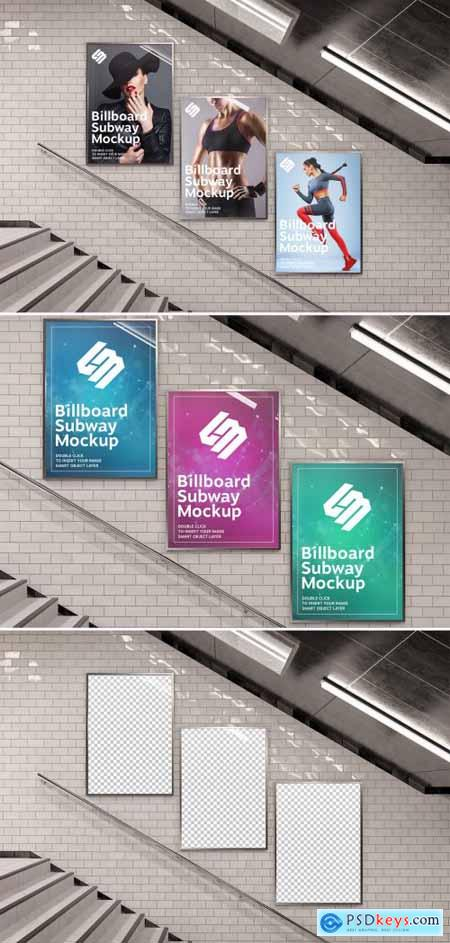 Billboards on Underground Stairs Wall Mockup 333526375