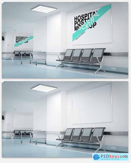 Two Posters in a Hospital Waiting Room Mockup 333484320