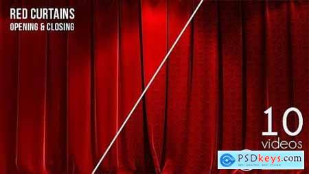 3D Realistic Red Curtains Opening & Closing 10 Pack 15522614