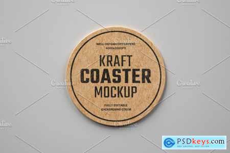Kraft Beverage Coaster Mockup 4751788