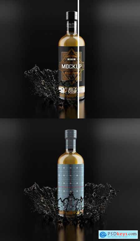 Whiskey Glass Bottle Mockup 333538130