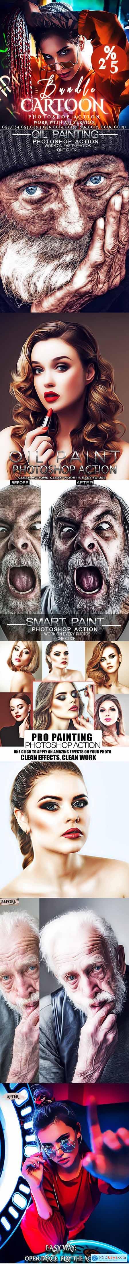 Bundle Cartoon Painting Photoshop Actions 26075116
