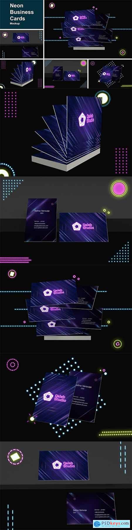 Neon Business Cards Mockup