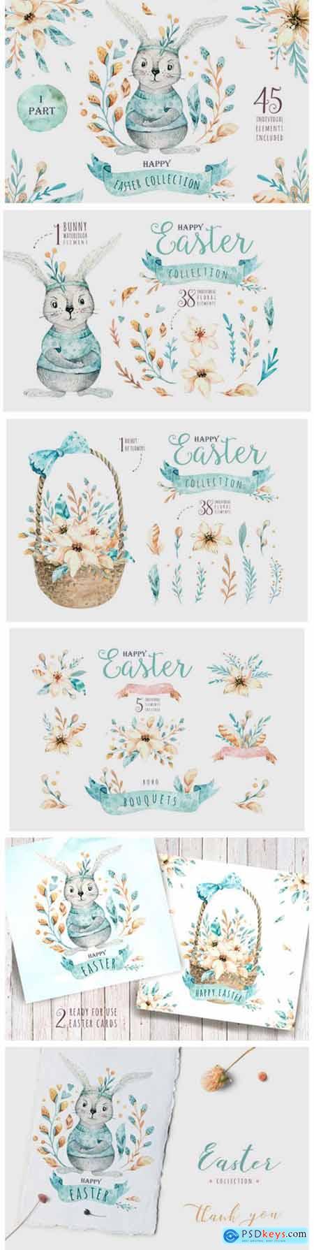 Easter Cute Bunny I Watercolor Set 3758786