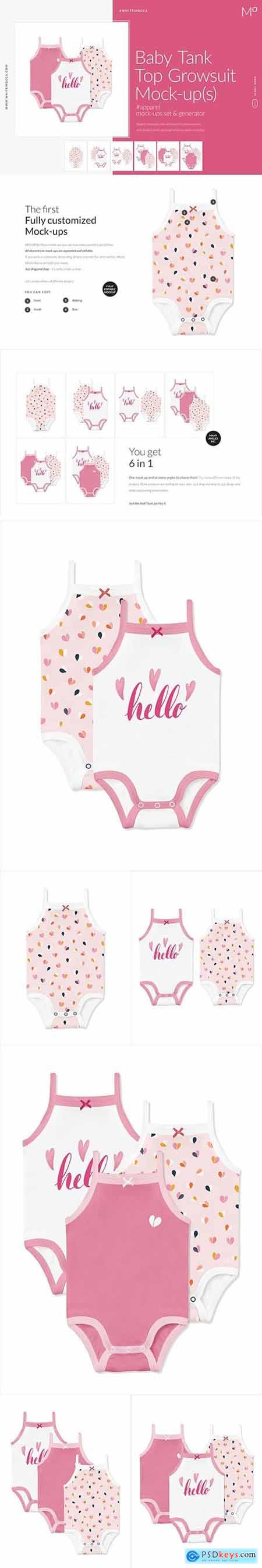 Baby Girl Tank Top Growsuit Mock-ups 4662244