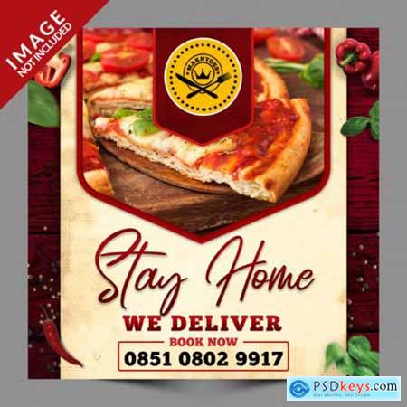 Stay home we deliver food, social media post psd template