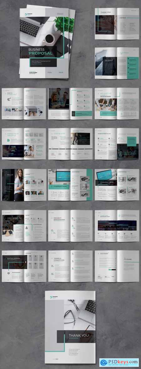 Business Proposal Brochure with Turquoise Accents 334557298