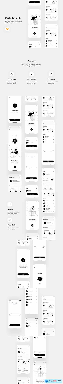 Relax io 1.0 - Meditation App UI Kit