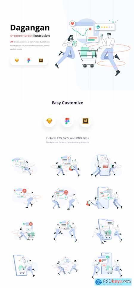 Dagangan - E-commerce and Business Line Illustration Pack