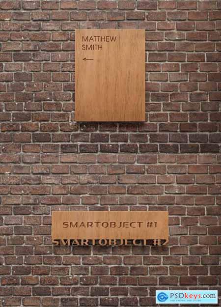 Wooden Sign Logo Mockup on Brick Wall 334579290