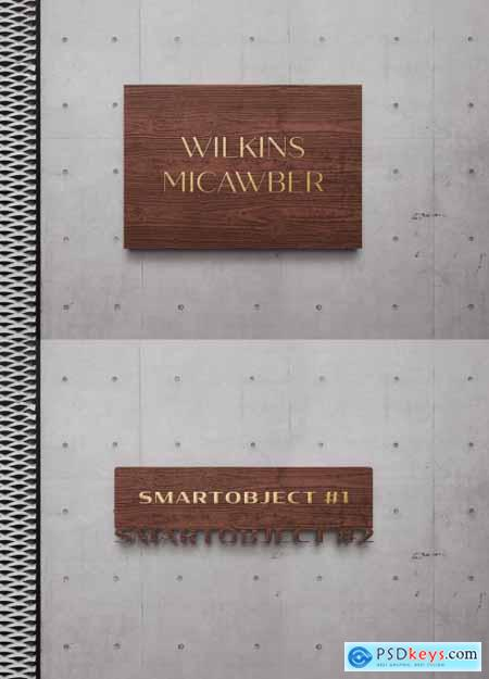 Wooden Gold Sign Logo Mockup on Concrete Wall 334580275