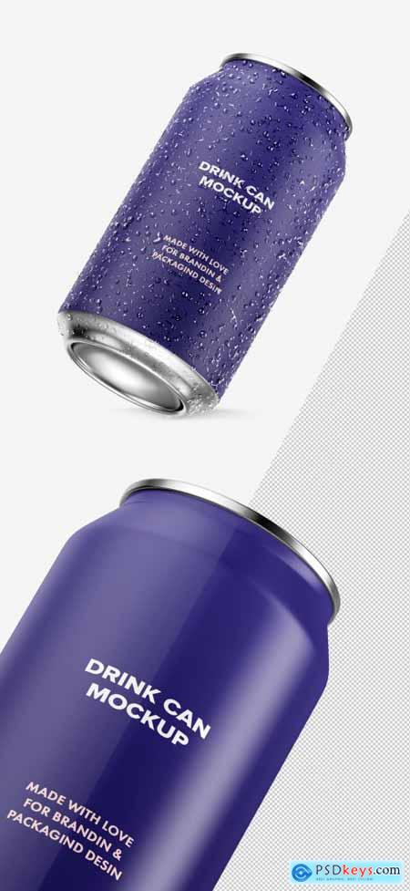 Isolated Inclined Iced Aluminum Drink Can Mockup 334505057