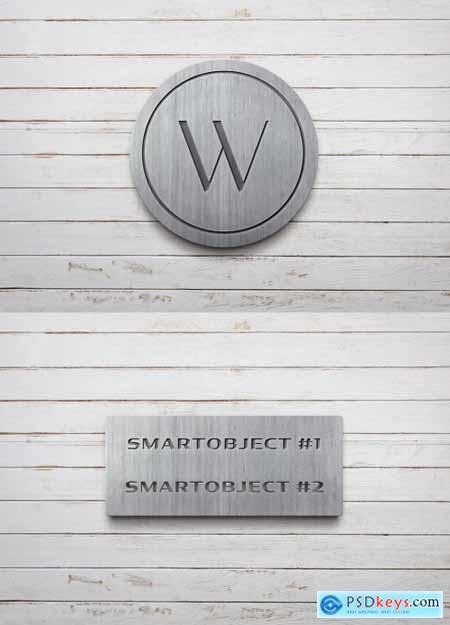 Metal Sign Logo Mockup on White Wooden Planks 334583803