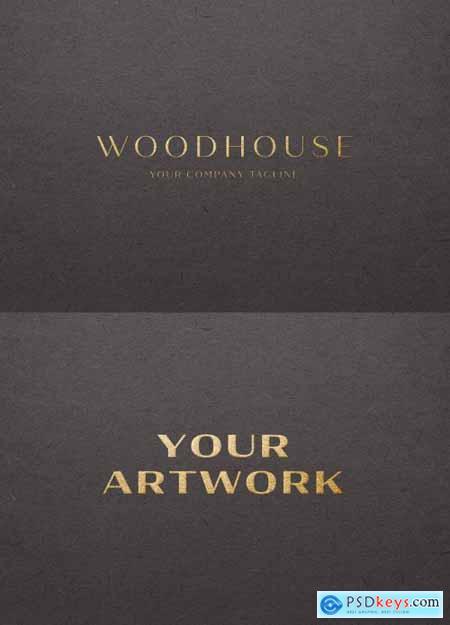 Gold Foil Logo Mockup on Dark Paper 334582340