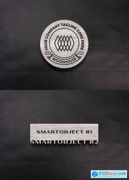 Wooden Sign Logo Mockup on Dark Textile 334587377