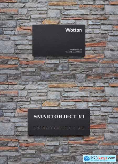 Matte Plastic Logo Sign Mockup on Stone Wall 334582834
