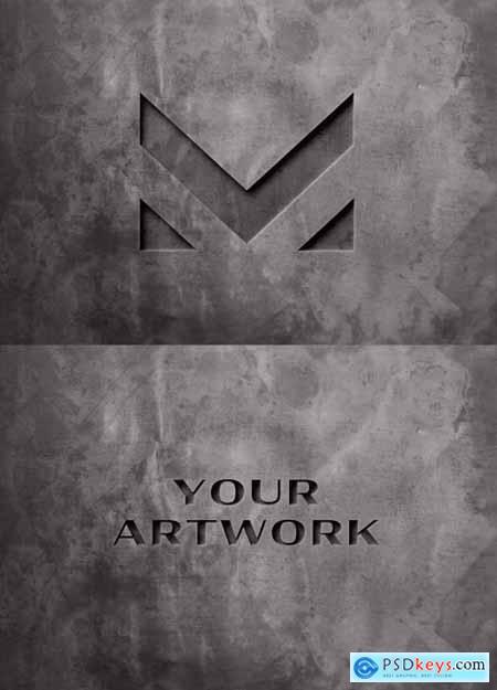Pressed Logo Mockup on Dark Concrete Wall 334584920