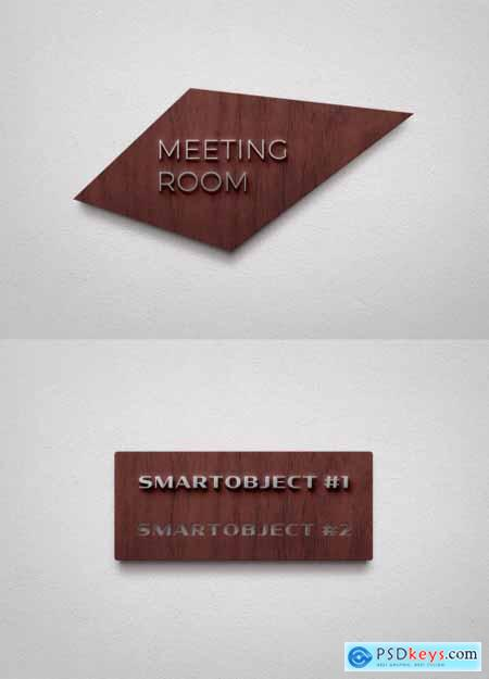Wooden Sign Logo Mockup on White Wall 334584942