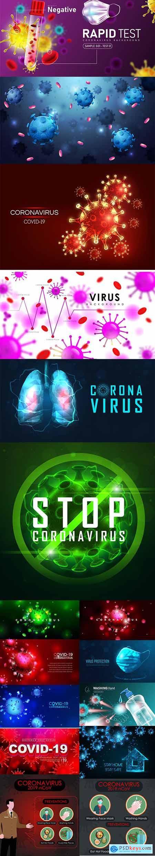 Coronavirus Covid-19 Backgrounds Set
