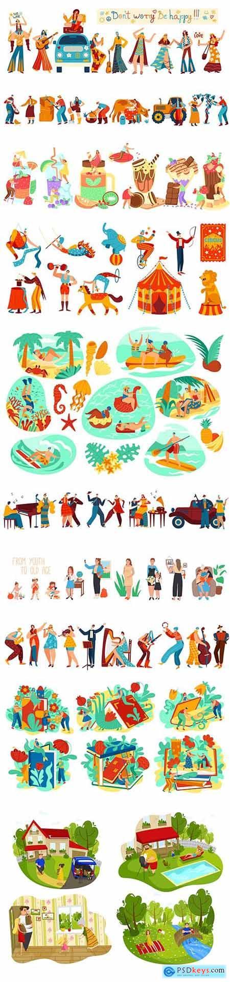 Flat Illustration Happy People Activities Vol 2