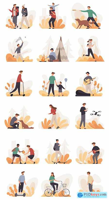Collection of People Doing Various Activity Outdoor